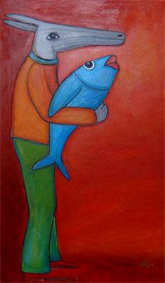 Esel-mit-Fisch-im-Arm