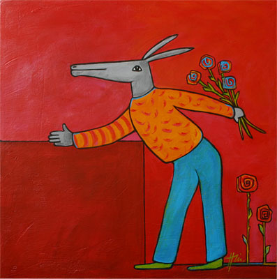 Esel mit Blumenstrauß